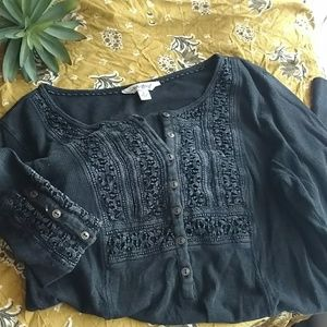 Lucky Brand crochet thermal top Charcoal Gray L